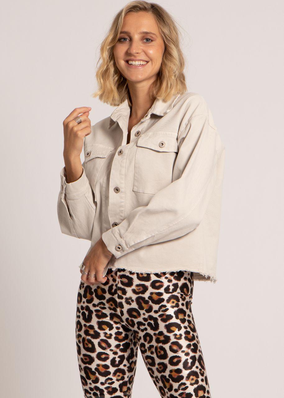 Oversize Jeans-Jacke, beige