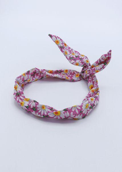 Geblümtes Haarband mit Draht, pink