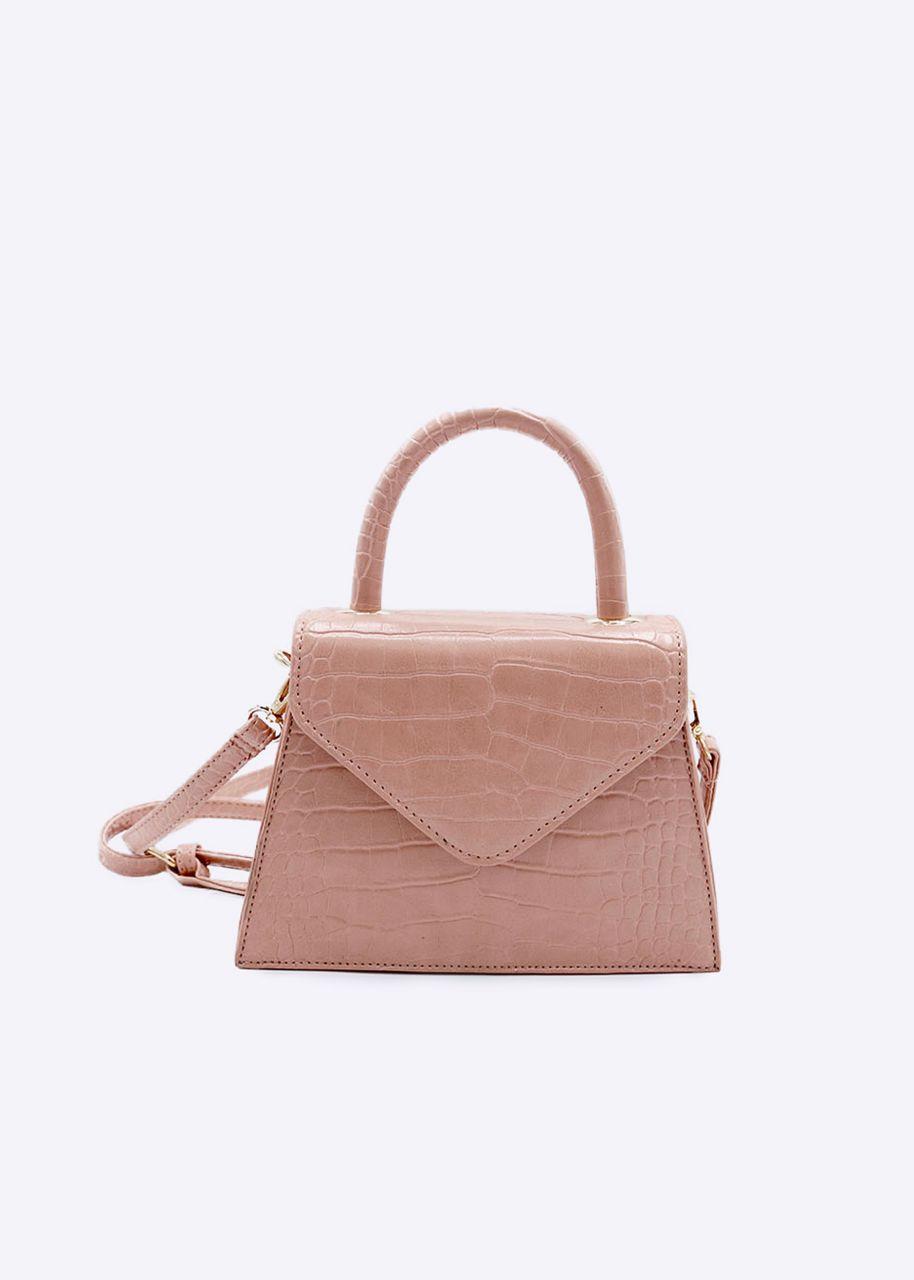 Kroko-Bag mit Henkel, rosa