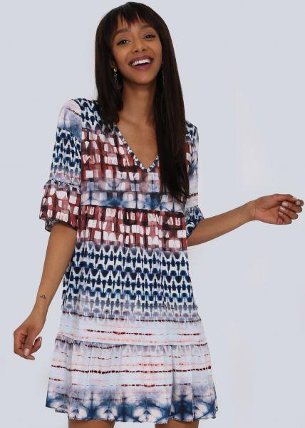 Hängerchenkleid mit Batik-Print, blau