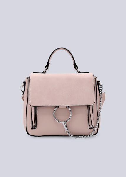 Überschlagtasche mit Kette und Ring, rosa