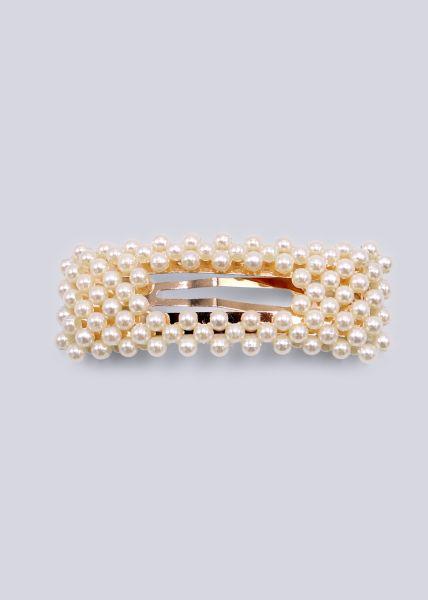 Eckige Haarspange mit Perlen, gold