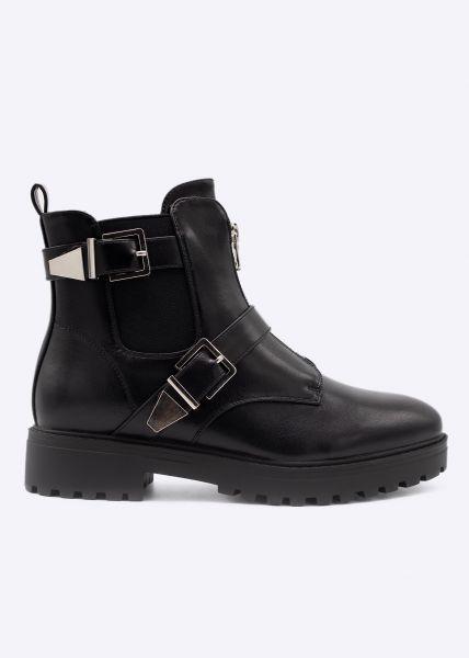 Chelsea-Boots mit Reißverschluss und Schnallen, schwarz