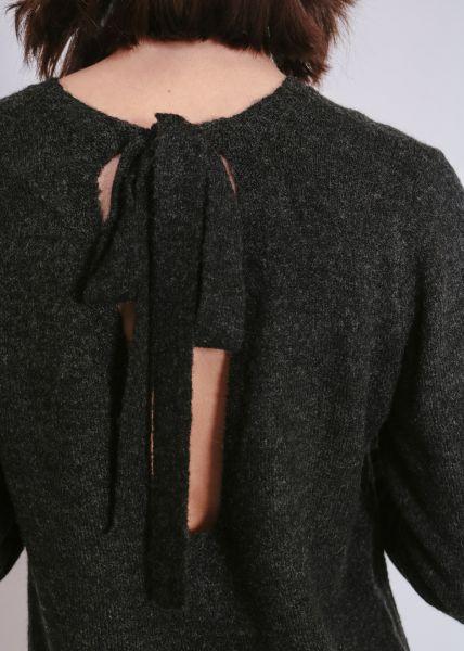 Oversize Pullover mit Schleife, dunkelgrau