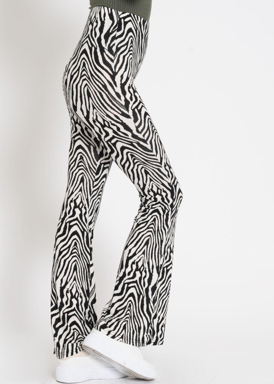 Highwaist Jersey-Pants mit Zebra-Print, schwarz