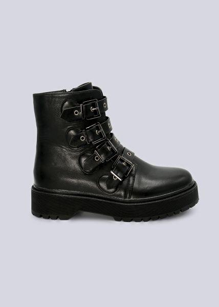 Plateau-Boots mit 4 Schnallen, schwarz