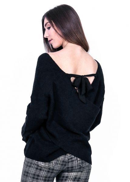 Pullover mit raffiniertem Rückenausschnitt, schwarz