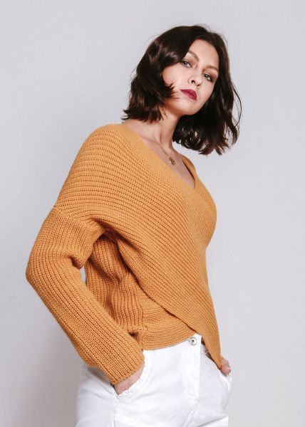 Pullover in Wickel-Optik, gelb