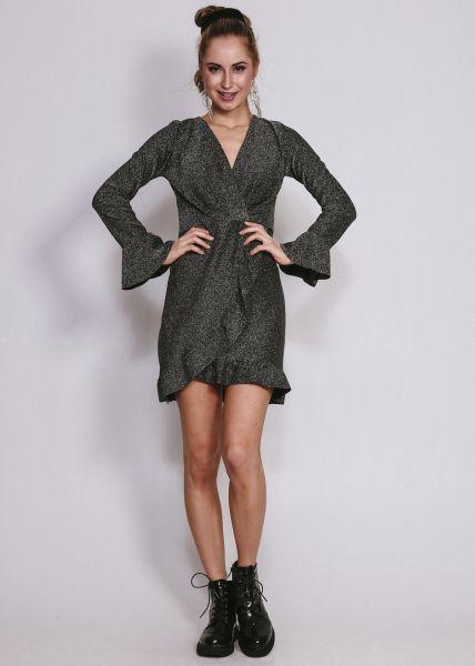 Kleid in Wickel-Optik, silber