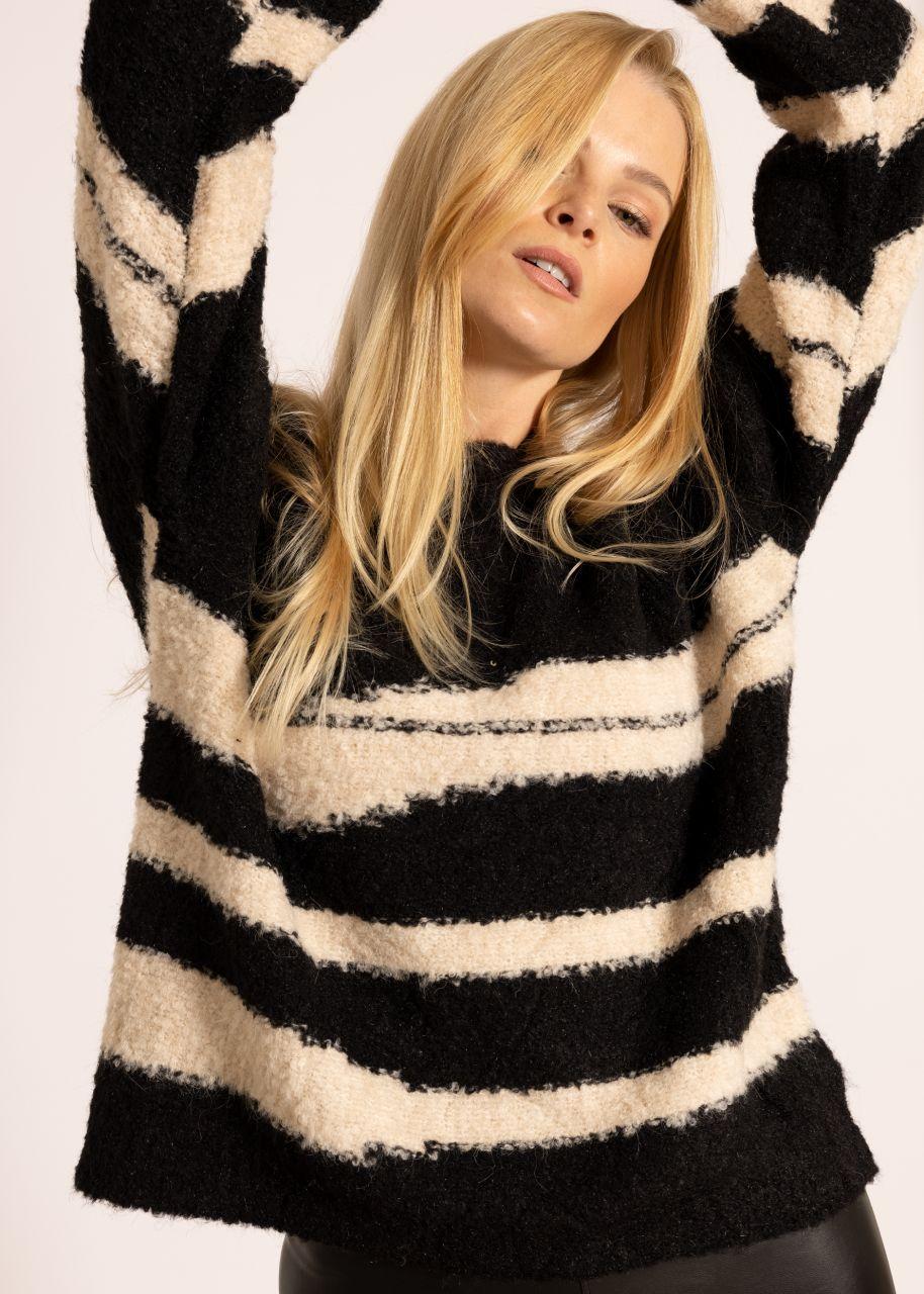 Flausch-Pullover mit Musterung, schwarz