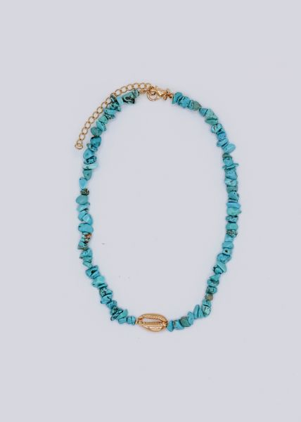 Halskette mit Schmucksteinen und goldener Muschel, türkis