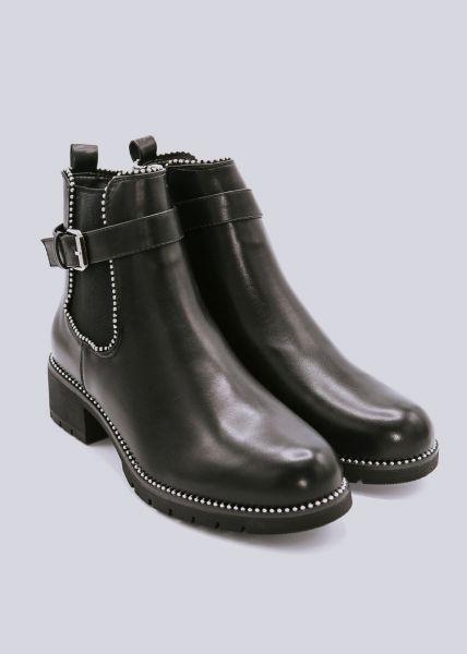 Chelsea-Boots mit Nieten und Schnalle, schwarz