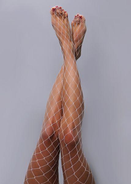 Netzstrumpfhose, grobmaschig, weiß