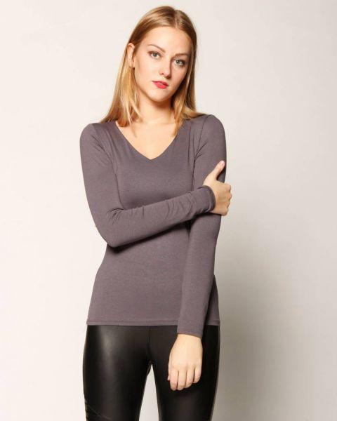 Basic V Shirt,graublau