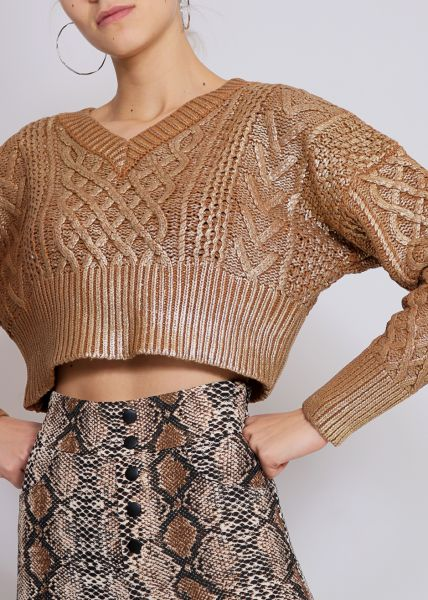 Crop-Pullover, metallic gold