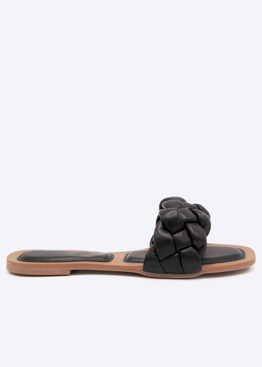 Flats mit geflochtenem Steg, schwarz
