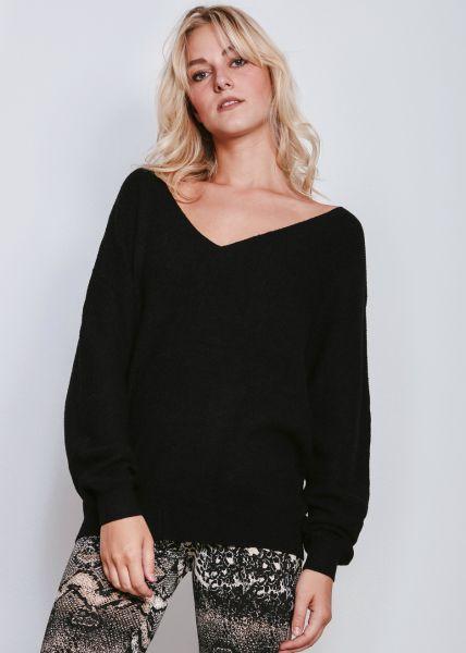 Lässiger Pullover mit V-Ausschnitt, schwarz