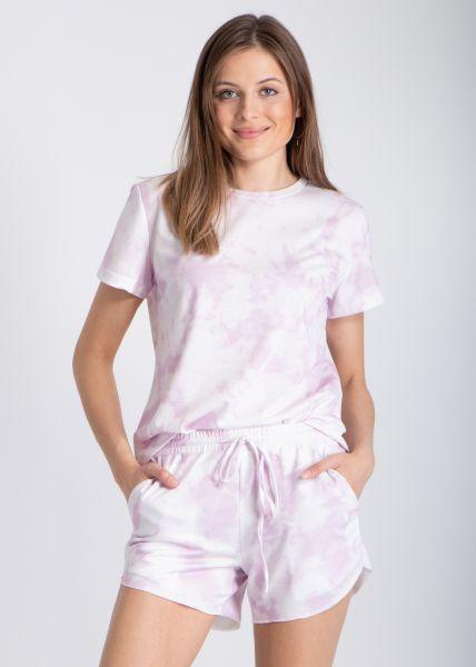 Zweiteiler in Batik-Print, rosa