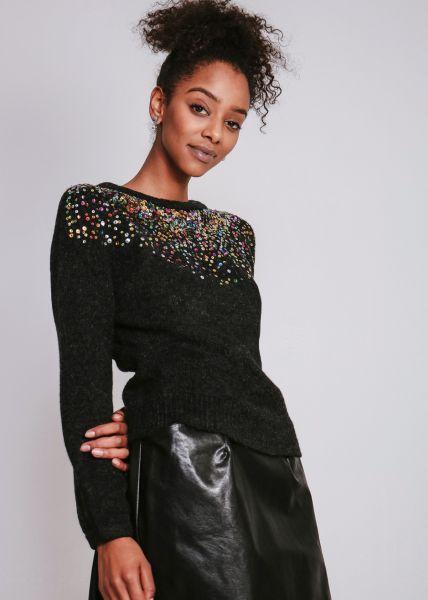 Pullover mit bunten Pailletten, schwarz