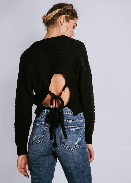 Pullover mit Rückenausschnitt, schwarz