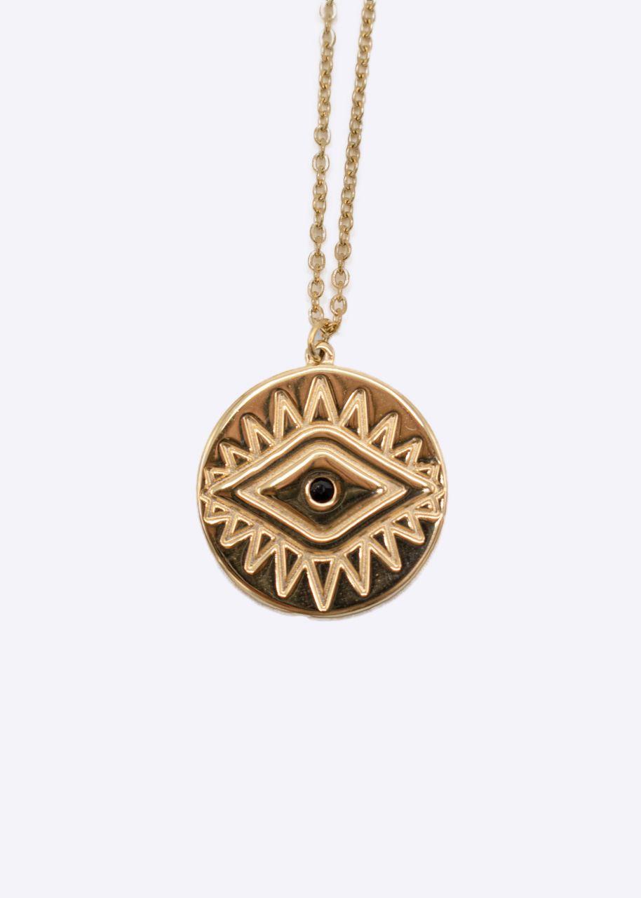 "Lange Halskette mit Anhänger ""Auge"", gold"