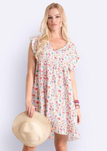 Kleid mit Blumen-Print, weiß