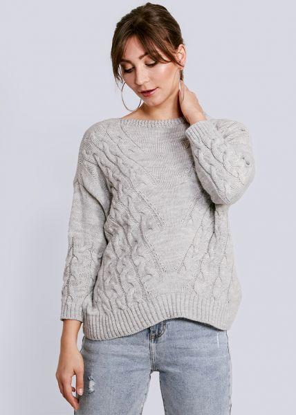 Lässiger Pullover mit Zopfmuster, grau