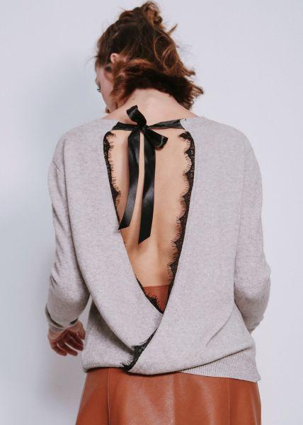 Pullover, hinten gewickelt, grau