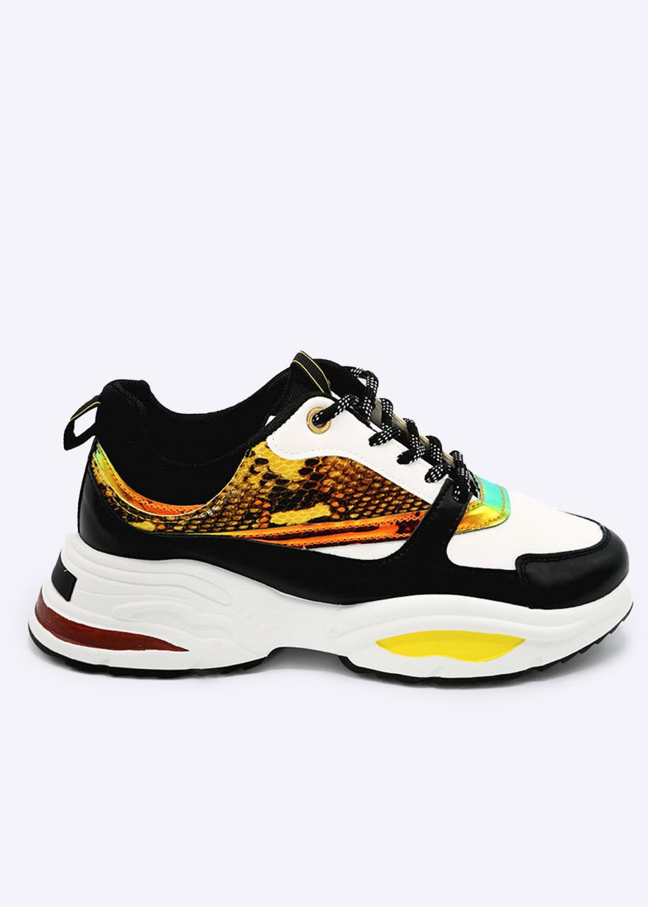 Plateau-Sneaker mit Leuchtstreifen und Animal-Print, weiß