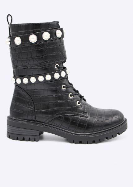 Plateau-Kroko-Boots mit Perlen, schwarz