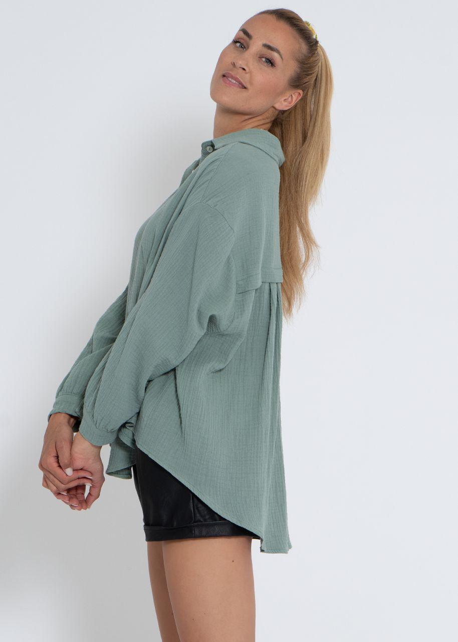 Ultra oversize Blusenhemd, kürzere Variante, grün