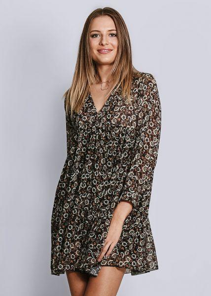Hängerchenkleid in Blumenprint, schwarz