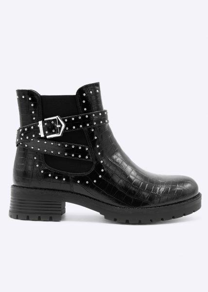 Kroko-Boots mit silbernen Nieten, schwarz