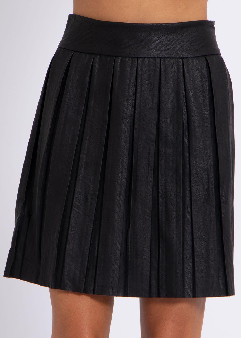 Falten-Lederrock, schwarz