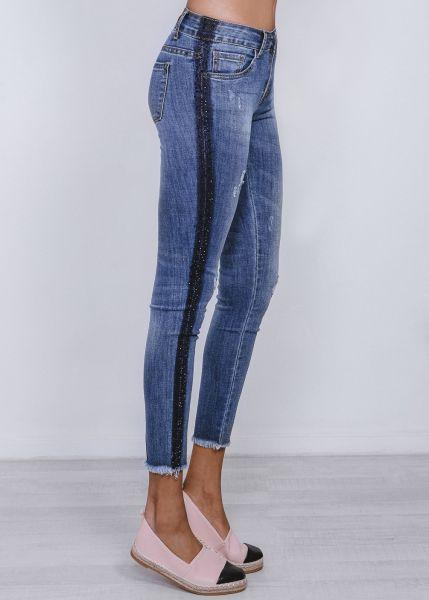 Knöchellange, skinny Jeans mit Glitzerstreifen, dunkelblau