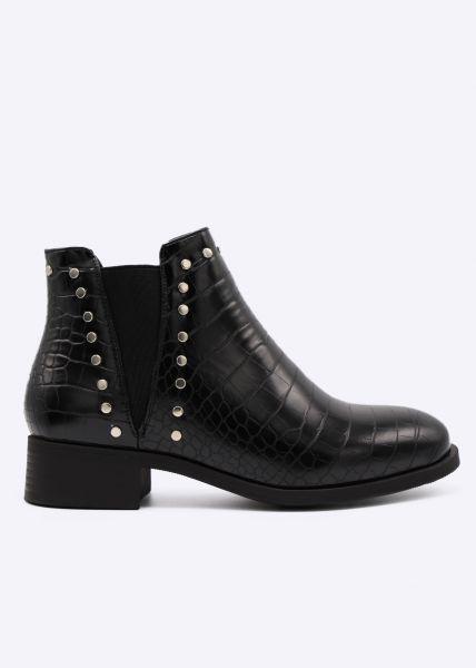 Kroko-Chelsea-Boots mit Nieten, schwarz