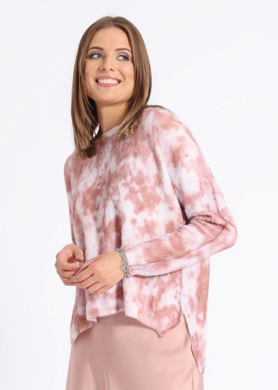 Lässiger Pullover mit Batik-Print, lachsrosa