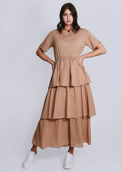 Kleid mit Rüschenrock, camel