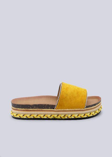 Plateau-Slider mit silbernen Perlchen, gelb