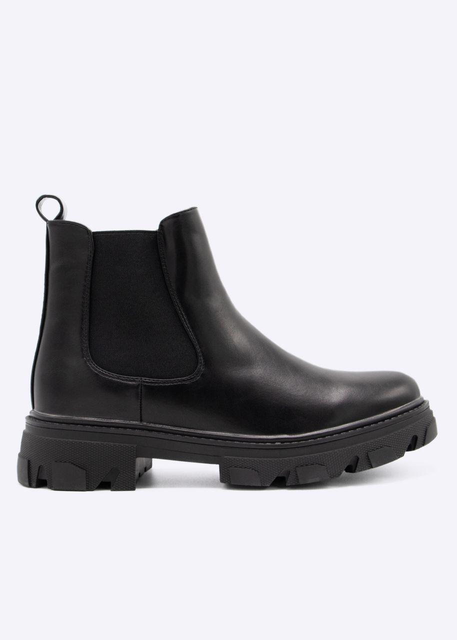 Chelsea-Boots mit grober Sohle, schwarz
