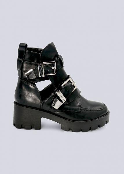 Plateau-Boots mit Schnallen und Cut-Outs, schwarz