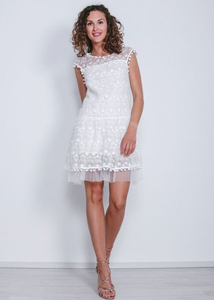 Kleid aus Tüll und Spitze mit Pompoms, weiß