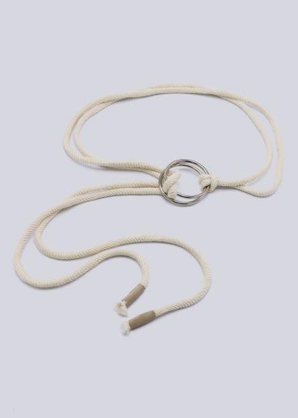 Schnur-Gürtel mit silbernen Ringen, beige