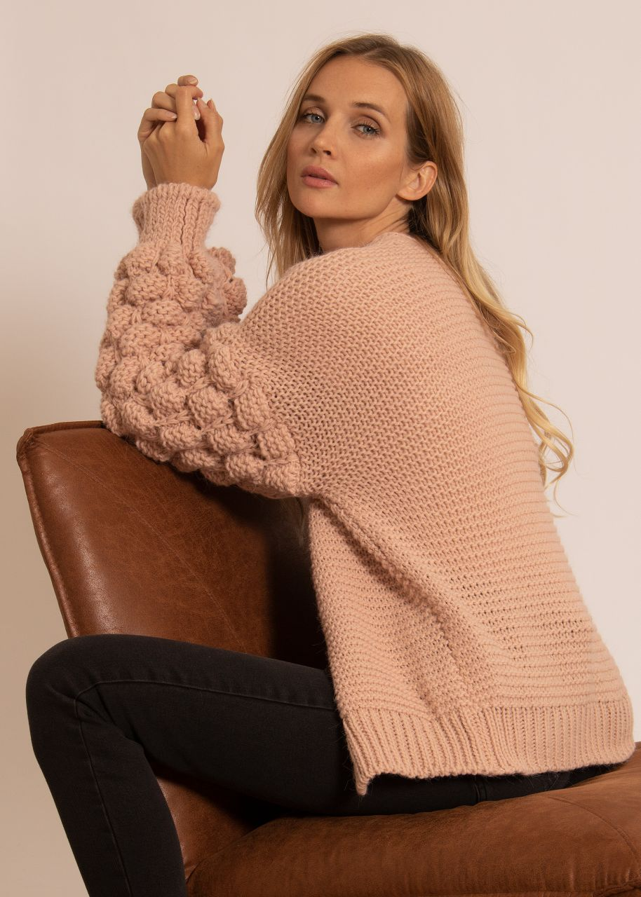 Soft Cardigan mit voluminösen Ärmeln, rosa