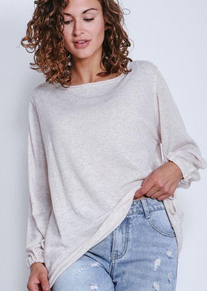 Oversize Pullover mit weitem Arm, beige