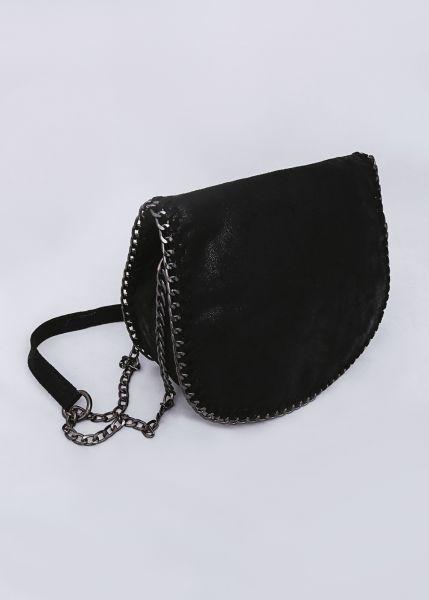 Überschlagtasche mit Kettenumrandung, schwarz