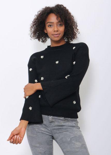 Pullover mit Perlen, schwarz