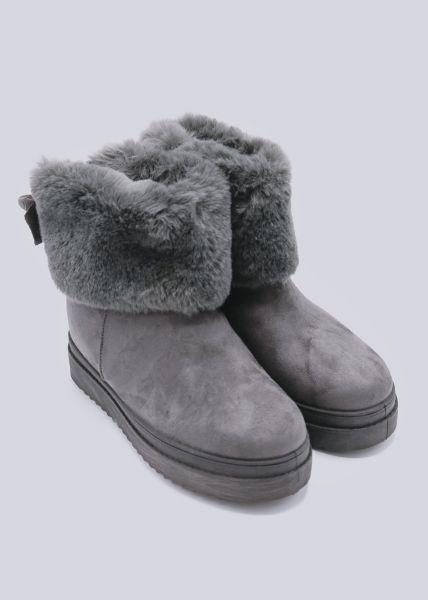 Winter-Boots mit Plateau, grau