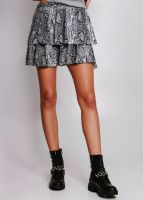 Rock mit Volants in Snake-Print, grau