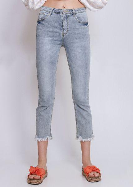 Midwaist Jeans mit ausgefranstem Saum, hellblau